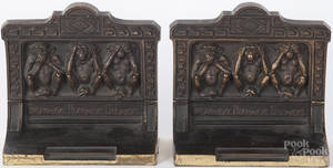 Pair of Bradley and Hubbard bronze bookends with  Hear no Evil