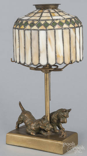 Bronze bedside lamp of Scottie dogs and a frog