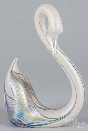 Contemporary art glass swan