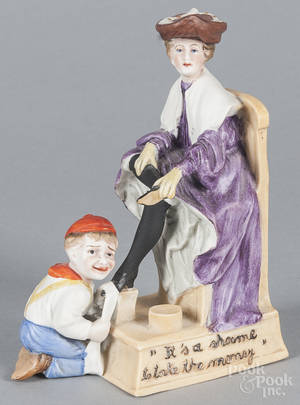 German bisque figure of a shoe shine boy