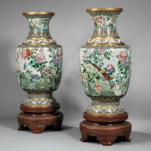 Pair of Monumental Cloisonne Vases and Wood Stands