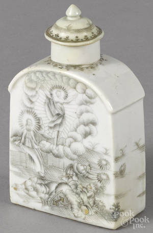 Chinese export grisaille tea caddy mid 18th c