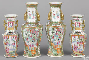 Two pairs of Chinese export porcelain famille rose vases 19th c