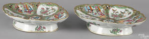 Two Chinese export porcelain rose medallion scalloped edge serving dishes 19th c