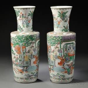 Pair of Tall Famille Verte Vases