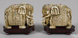 Pair of Asian carved ivory elephants ca 1900