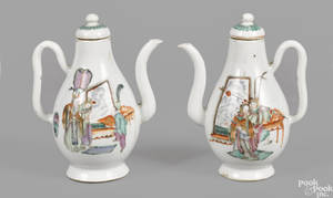 Pair of Chinese export famille rose teapots 18th19th c
