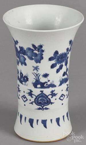 Chinese transitional blue and white beaker vase