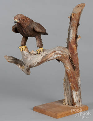 Contemporary carved eagle on a driftwood base