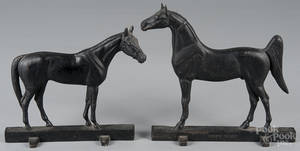 Two cast iron Virginia Metalcrafters horse doorstops