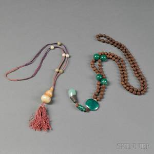 Two Necklaces of Hardstone and Wooden Beads