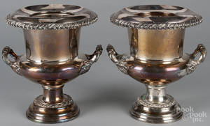 Pair of silverplated wine coolers