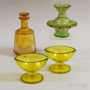 Four Colored Glass Tableware Items