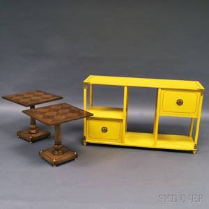 Pair of Old Colony Parquetry Side Tables and a Yellowpainted Etagere