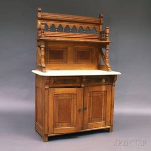 Victorian Carved Oak Marbletop Sideboard