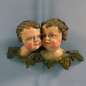 Carved and Painted Putti Wall Plaque