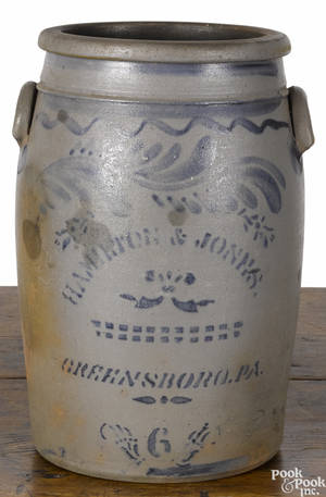 Western Pennsylvania sixgallon stoneware crock 19th c