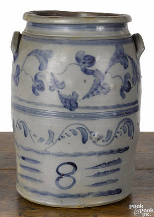 Western Pennsylvania eightgallon stoneware crock 19th c