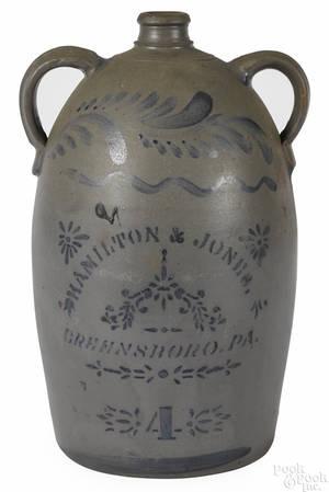 Western Pennsylvania fourgallon stoneware jug 19th c