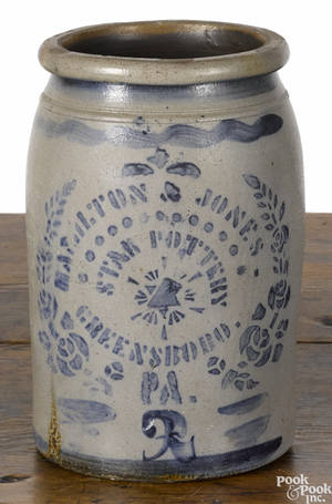 Western Pennsylvania stoneware crock 19th c