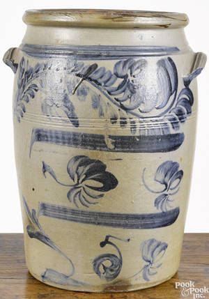 Western Pennsylvania fivegallon stoneware crock 19th c