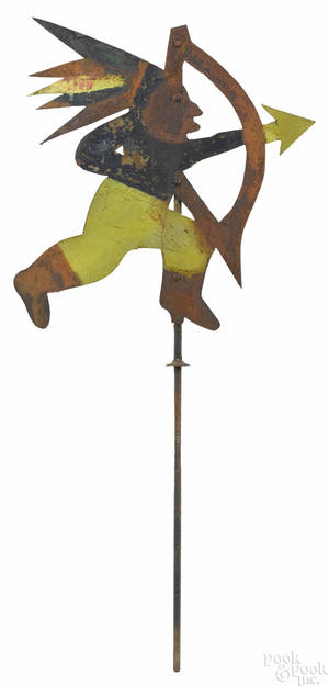 Painted sheet iron Indian weathervane early 20th c