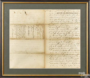 Handwritten bill of sale for a slave dated