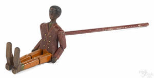 Carved and painted black Americana figure of a dancing man late 19th c