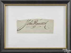 John Hancock autograph 18th c