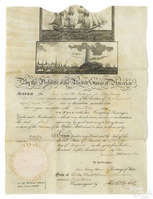James Monroe signed ships passage dated