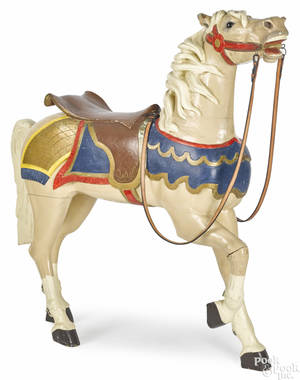 Carved and painted carousel horse ca 1900