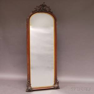 Victorian Carved Walnut Pier Mirror
