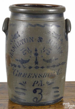 Pennsylvania threegallon stoneware crock 19th c