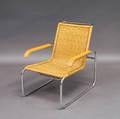 ICF Metal Hardwood and Rush Lounge Chair