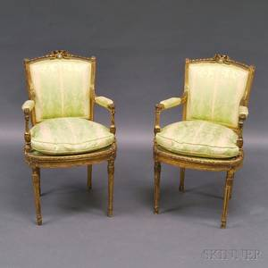 Pair of Louis XVIstyle Giltwood Chairs