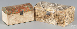 Two wallpaper covered dome lid boxes