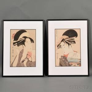Two Woodblock Prints of Bijinga