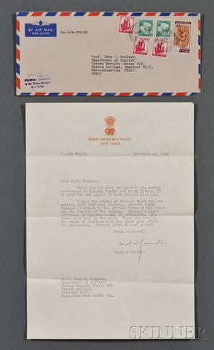 Gandhi Indira 19171984 Typed Letter Signed 25 December 1968