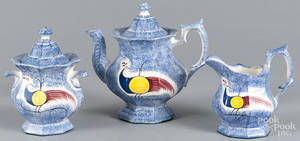 Reproduction blue spatter teapot