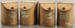 Set of four painted spice tins