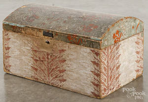 New England wallpaper covered dome lid box