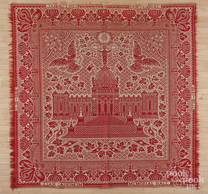 Centennial red and white Memorial Hall coverlet
