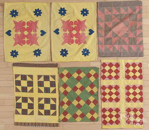 Six pieced and appliqu pillow shams