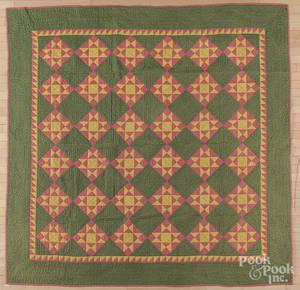 Pieced diamond pattern quilt