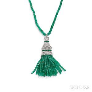 18kt White Gold Emerald and Diamond Pendant