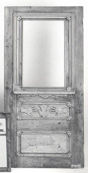 Folk art carved and painted pine door 19th c