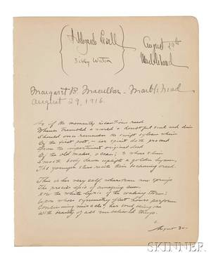 Cummings Edward Estlin 18941962 Unpublished Manuscript Poem Signed with an E 30 August 1916