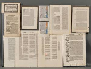Incunabula and Early Printed Book Leaves