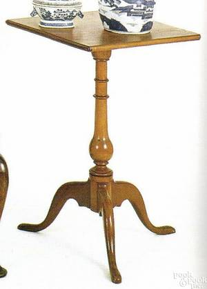 New England Federal cherry candlestand ca 1800