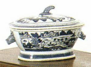 Canton blue and white boars head soup tureen ca 1800
